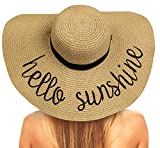Chalier Foldable Beach Hats for Women, Embroidered Floppy Hats for Women Beach, Vocation, Cruise, Honeymoon, Travel, A Hello Sunshine