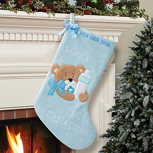 HAUMENLY Christmas Stocking, Baby Girl 1st Christmas, Pink Elephant Xmas Sock Holiday Home Party Decoration