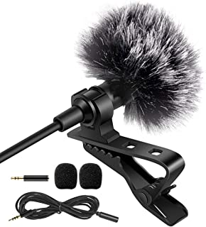 APPHOME Lavalier Lapel Microphone, Professional Grade 3.5mm Mic Pro with Easy Clip On System for iPhone Android Smartphone...