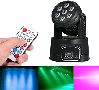 Lixada Mini Moving Head Light DMX512 105W AC100-240V 7LED RGBW 9/14 Channels Stage Lighting with Remote Control Sound Activated for DJ Show KTV Club Home Party