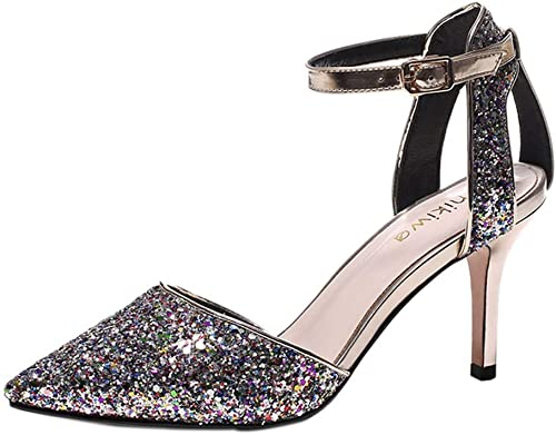 Sandalen Sommer Pailletten Damenschuhe High Heel Pailletten Strass Sexy Dating Schuhe, High Heels 9 cm (Farbe   Silber, Größe   33)