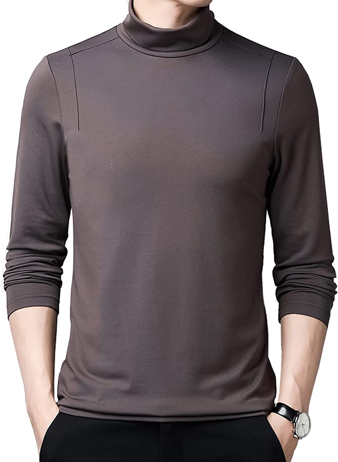LZJDS Mens Thermal Baselayer Top - Modal Cotton Sweater Roll Neck Jumper Breathable Quick Drying & Fitted Sleeves - for Everyday Use,Brown,180