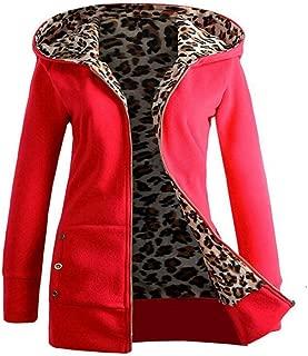 UONQD Women Plus Leopard Zipper Coat,Velvet Thickened Hooded Sweater