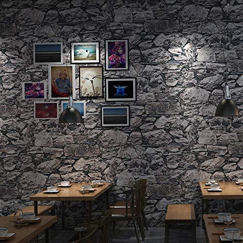LZHui 3D Grey Brick Wallpaper Vliestapete für Schlafzimmer Wohnzimmer TV Hintergrund Küche Home Office Tapete-grau