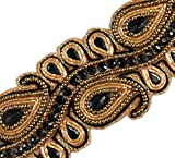 1.5 Yards Beaded Trim Black Paisley Gold Bullion & Black Beads & Sequins 2' Wide