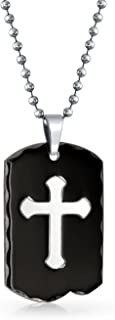Engravable Two Tone Carved Edge Black Cross Dog Tag Pendant Necklace for Men for Teen IP Plate Stainless Steel