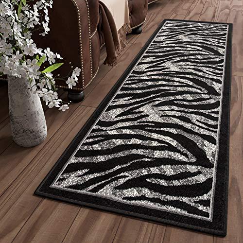 Tapiso Dream Alfombra de Pasillo Cocina Escalera Diseño Moderno Gris Negro Animal Salvaje Cebra Suave Fina 70 x 300 cm