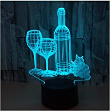 3D Optical Illusion LED Lamps Night Light,Amazing 7 Colors Quick Touch Switch Lamp with Smooth Acrylic Flat,USB Powered Deco Lamp,Birthday Christmas Holiday Gift for Kids and Friends,Wine_a