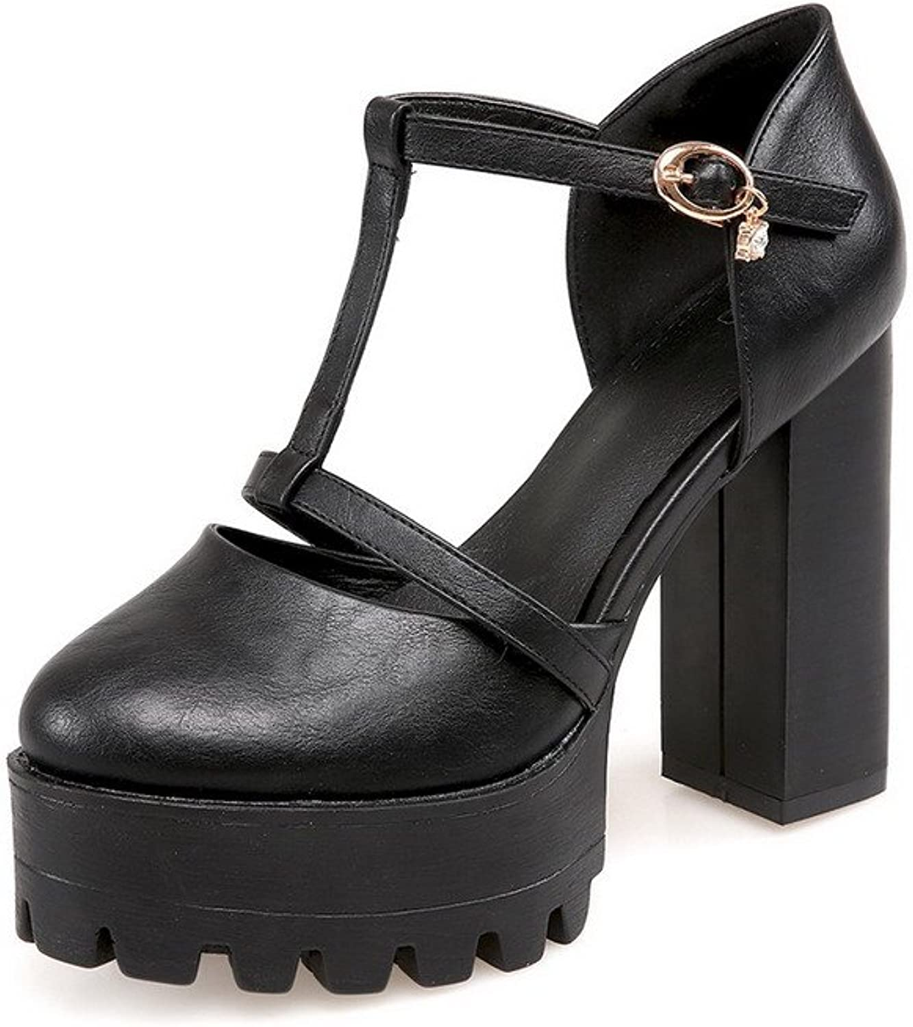 WeenFashion Women's High-Heels Soft Material Solid Buckle Round Closed Toe Sandals
