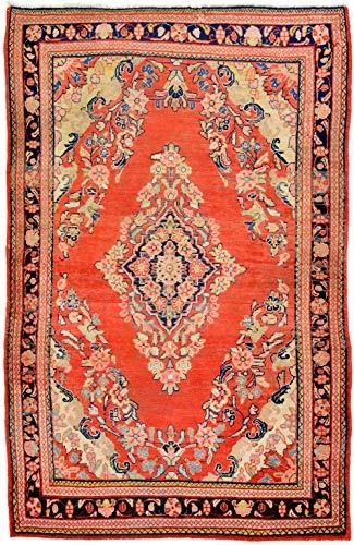 Cristina Carpets Orientalischer Teppich Lilian Saruk Vecchio Manufaktur 214x138 cm Von Hand verknüpft Original Vecchia aus Wolle, Baumwolle mit rotem Boden