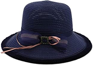2019 Women Womens Summer Hat Straw Hat for Women Sun Hat Beach Hat Bowknot Handmade Hat Elegant Mesh Sunscreen Travel Outdoor Vacation Cap Solid Color Fashion (Color : Navy Blue, Size : 56-58CM)