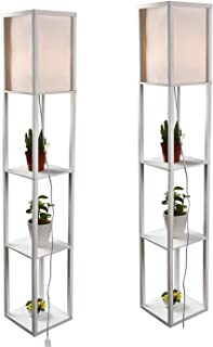 Simple Design Shelf Floor Lamp, White Shade, 63 Inch Height, with Open-Box Shelves, White (2 Pack)