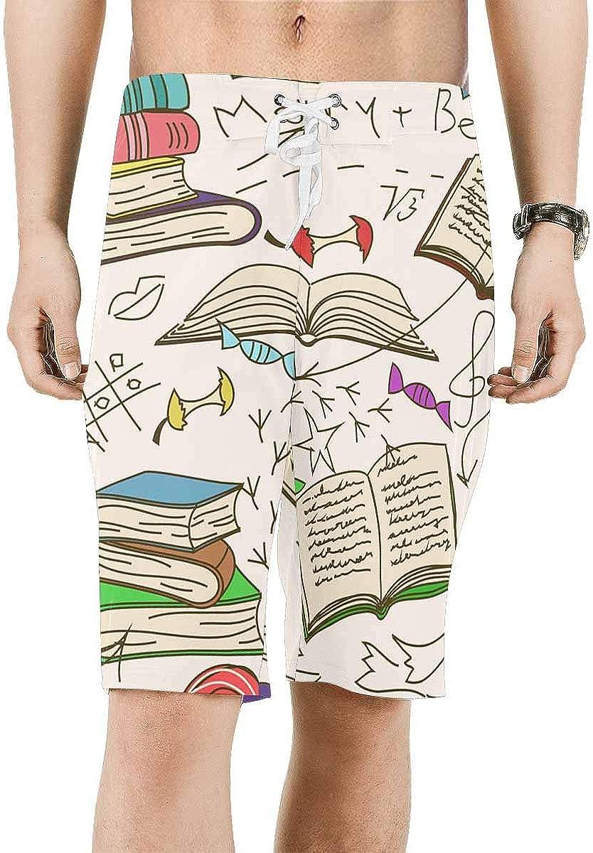 InterestPrint Max 53% OFF Men's Printed Board San Francisco Mall Shorts Dry No Quick Loose Fit