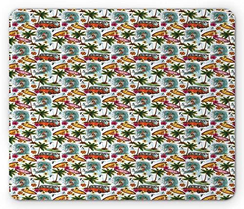 Abstracte muismat, Surf Themed Vibrant Image Vintage Van Flower Arrangement Seagulls Action HobMousepad muismat