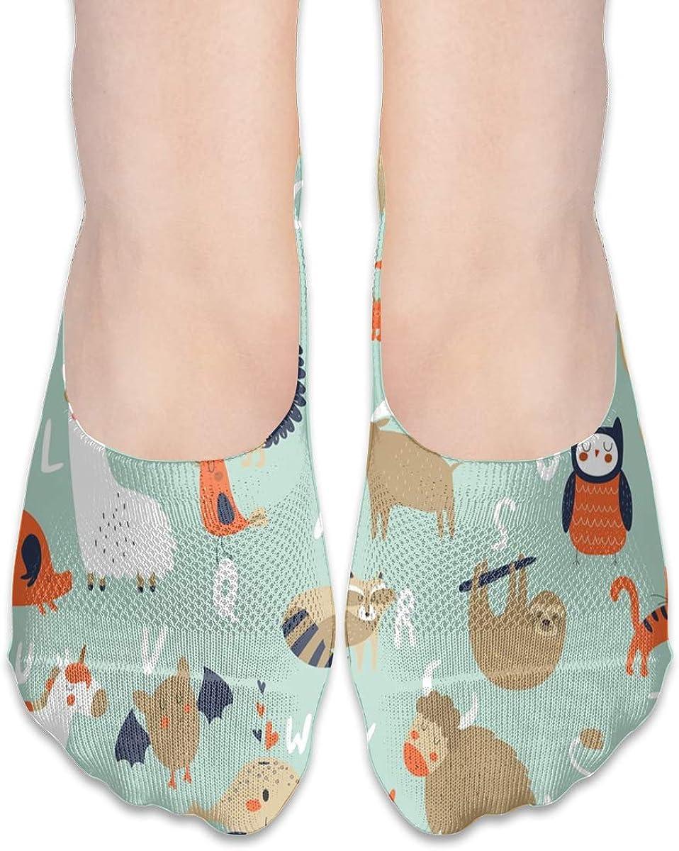 No Show Socks Women Men For Zoo Alphabet Cute Animals Flats Cotton Ultra Low Cut Liner Socks Non Slip