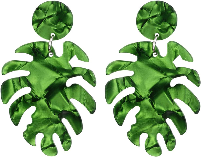 Colorful Acrylic Statement Palm Leaf Earrings Resin Tropical Plant Monstera Leaves Drop Dangle Lightweight Earrings Minimalist Jewelry for Women Girls