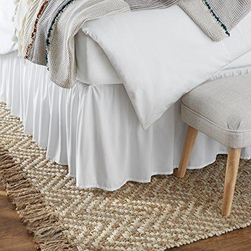 Amazon Basics Ruffled Bed Skirt - Queen, Bright White