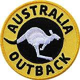Club of Heroes 2 x Australien Abzeichen gestickt 60 mm gelb/Australia Outback Outdoor Reise Känguru/Aufnäher Aufbügler Flicken Bügelbild Patches Kleidung Rucksack/Reiseführer Landkarte Buch Karte