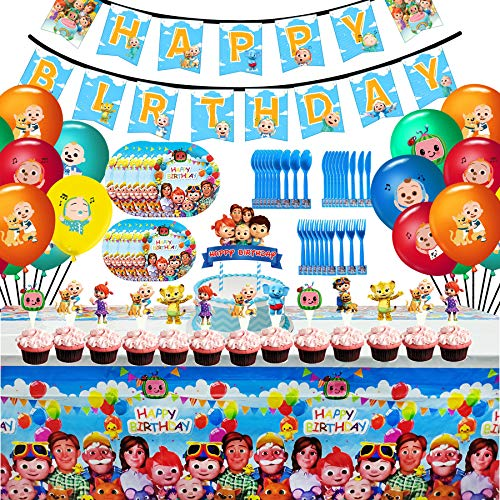 Cocomelon Birthday Party Favor Supplies Set, Cocomelon Party Decoration Include Banner, 7inch Paper Plates, 9inch Dessert Plates, Forks, Knives, Spoons, Tablecover, Cake Topper, Cupcake Toppers and Balloons for Kids Birthday Theme Party Baby Shower School Party Daily Dinner Set