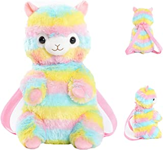 Rainbow Llama Alpaca Plush Backpack,Alpaca Stuffed Animal Toy Knapsack Shoulder Bags Easter Gifts for Kids, 15 inches