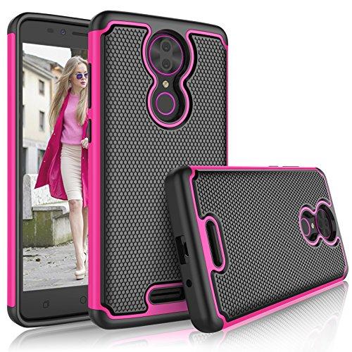 T-Mobile Revvl Plus case, Coolpad Revvl Plus Case for Girls, Tekcoo [Tmajor] Shock Absorbing [Rose] Hybrid Rubber Silicone & Plastic Scratch Resistant Bumper Armor Grip Cute Sturdy Hard Cases Cover