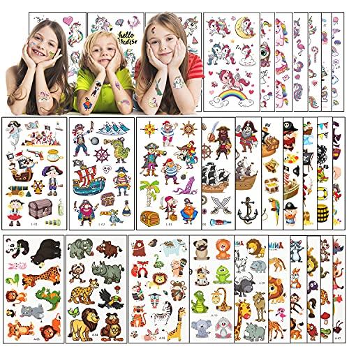 30 fogli Tatuaggi temporanei per bambini, Pirata Unicorno Animale tatuaggio, Adesivi per Bambini regalo decorazione festa ragazzo e ragazza