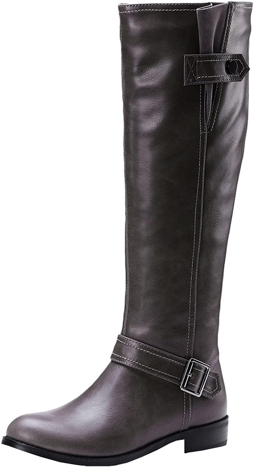 Agodor Womens Flat Closed-Toe Knee High Boots with Zip Buckle Winter Long shoes