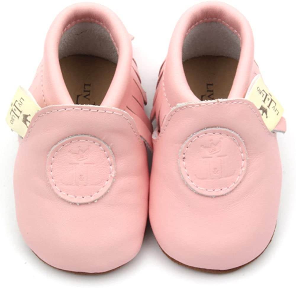 Classic Collection Liv /& Leo Baby Boys Girls Moccasins Soft Sole Crib Shoes Slip-on 100/% Leather