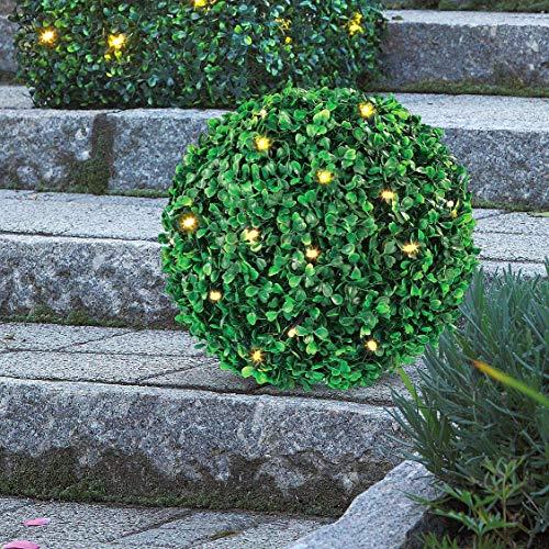 Hellum 350227 LED Buchsbaum-Kugel/Ø 25 cm / 30 LEDs warmweiß/innen & außen/Zuleitung 5 m grün/inkl. Außen-Transformator - 4