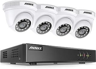 ANNKE Kit Sistema de Seguridad CCTV Cámara de vigilancia 4CH 3MP H.265+ DVR con 4 Cámaras 1080P IP66 Impermeable Visión Nocturna No-Ruido Alerta por Correo electrónico con instantáneas