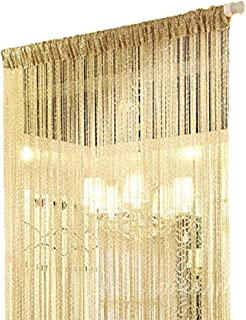 Duosuny 110x110 Inch Door String Curtain Rare Flat Silver Ribbon Thread Fringe Window Panel Room Divider Cute Strip Tassel for Wedding Coffee House Restaurant Party Parts (Champagne)