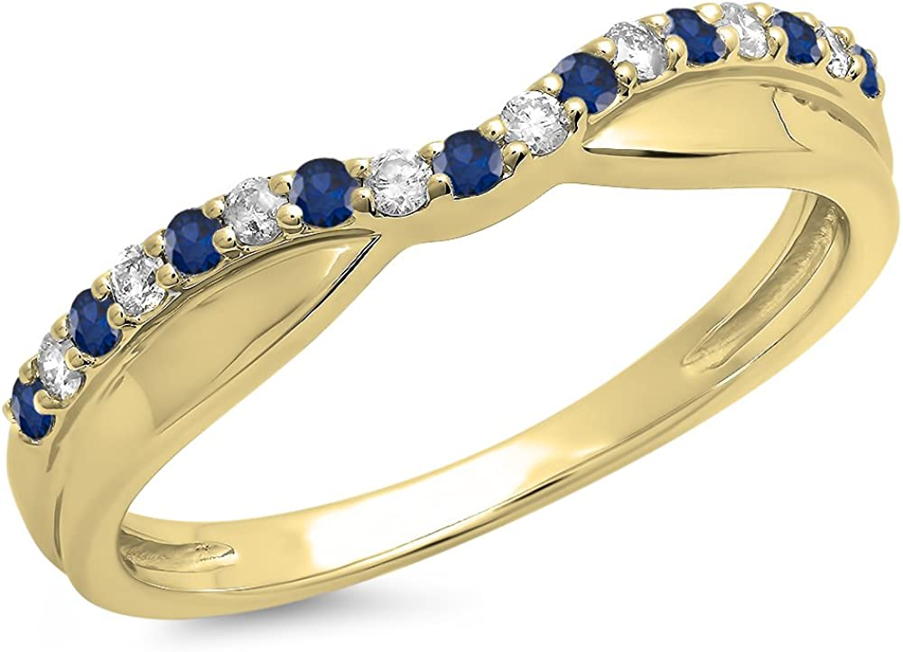 14K Gold Round Cut Blue Sapphire  White Diamond Anniversary Wed