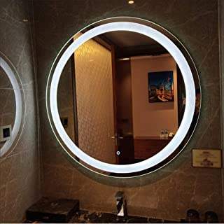 Home Equipment LED Bathroom Mirror Light Smart Touch Switch Anti-Fog Two-Color Lighting Wall Mounted Round with Aluminum F...