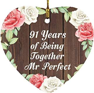 91st Anniversary 91 Years of Being Mr Perfect - Heart Wood Ornament A Christmas Tree Hanging Decor - for Wife Husband Wo-M...