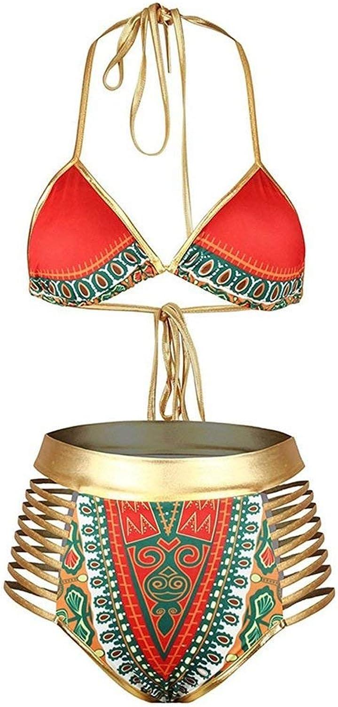 TEDLA Ladies Two Piece Bathing Set Women's African Tribal Metallic Cutout Vintage High Waist Bikini Sets Swimsuit SPA Beach Surfing