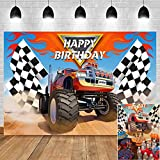Monster Truck Checkered Flag Photography Backdrop Vinyl 7x5ft Grave Digger Photo Background for Baby Boys Happy Birthday Party Supplies Banner Baby Shower Decorations Cake Table