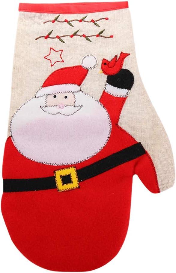 LUOZZY Practical Christmas Winter Glove Full Finger Mitten Warm Hands Protector (Santa)