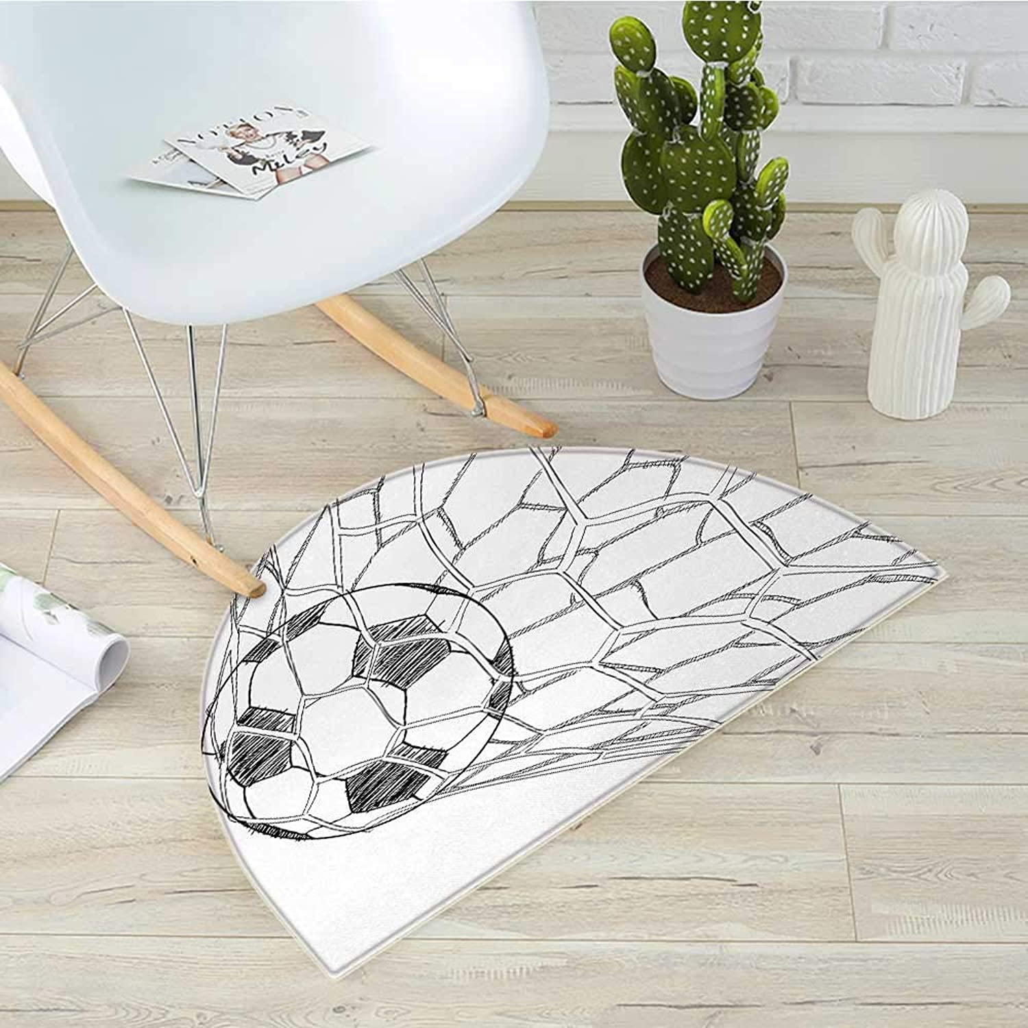 Soccer Semicircle Doormat Soccer Ball in Net Goaly Position Sports Competition Spectators Hand Drawn Style Halfmoon doormats H 39.3  xD 59  Black White