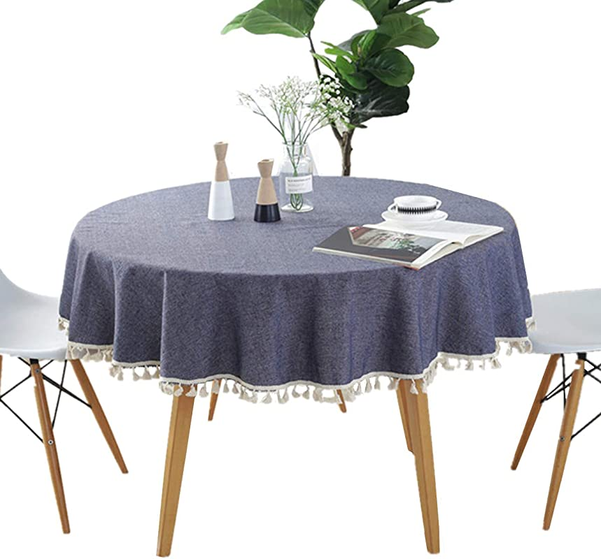 Round 60 Tablecloth Cotton Blue Tablecloth With Multi Tassels For Home Tabletop Decoration