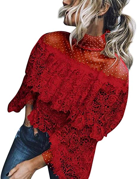 Womens Fashion Sexy Flare Sleeve Lace Patchwork Blouse Office Ruffles Elegant Top Spring Summer Hallmark