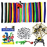 Mecando 470 Pcs Pipe Cleaners Craft Supplies 32 Colors 320 Pcs Chenille Stems 150pcs Wiggle Googly Eyes for Kids DIY Crafting Arts & Crafts Projects Decorations for Easter