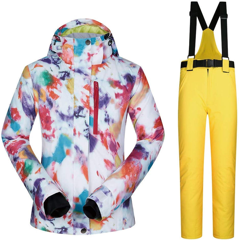 Uiophjkl Windproof ski jacket Outdoor sports ski suit women's suit snow suit warm breathable wear women's ski suit jacket windproof warm jacket (color   C1, Size   M)