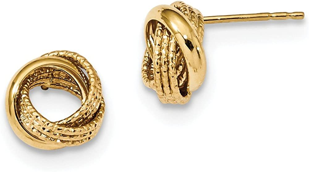 14k Yellow Gold Textured Love Knot Post Stud Earrings Ball Button Fine Jewelry For Women Gifts For Her