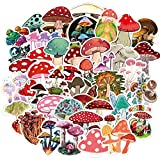 50pcs Aesthetic Mushroom Decal Stickers Vinyl Waterproof for Water Bottles Scrapbooking Car Laptop Hydroflasks MacBook, Mushroom Stickers Pack for Adults Kids Students Women Teachers Teens