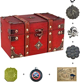 SICOHOME Treasure Box,Small Pirate Box with Pirate Accessories for Boys,Girls and Gift Cards