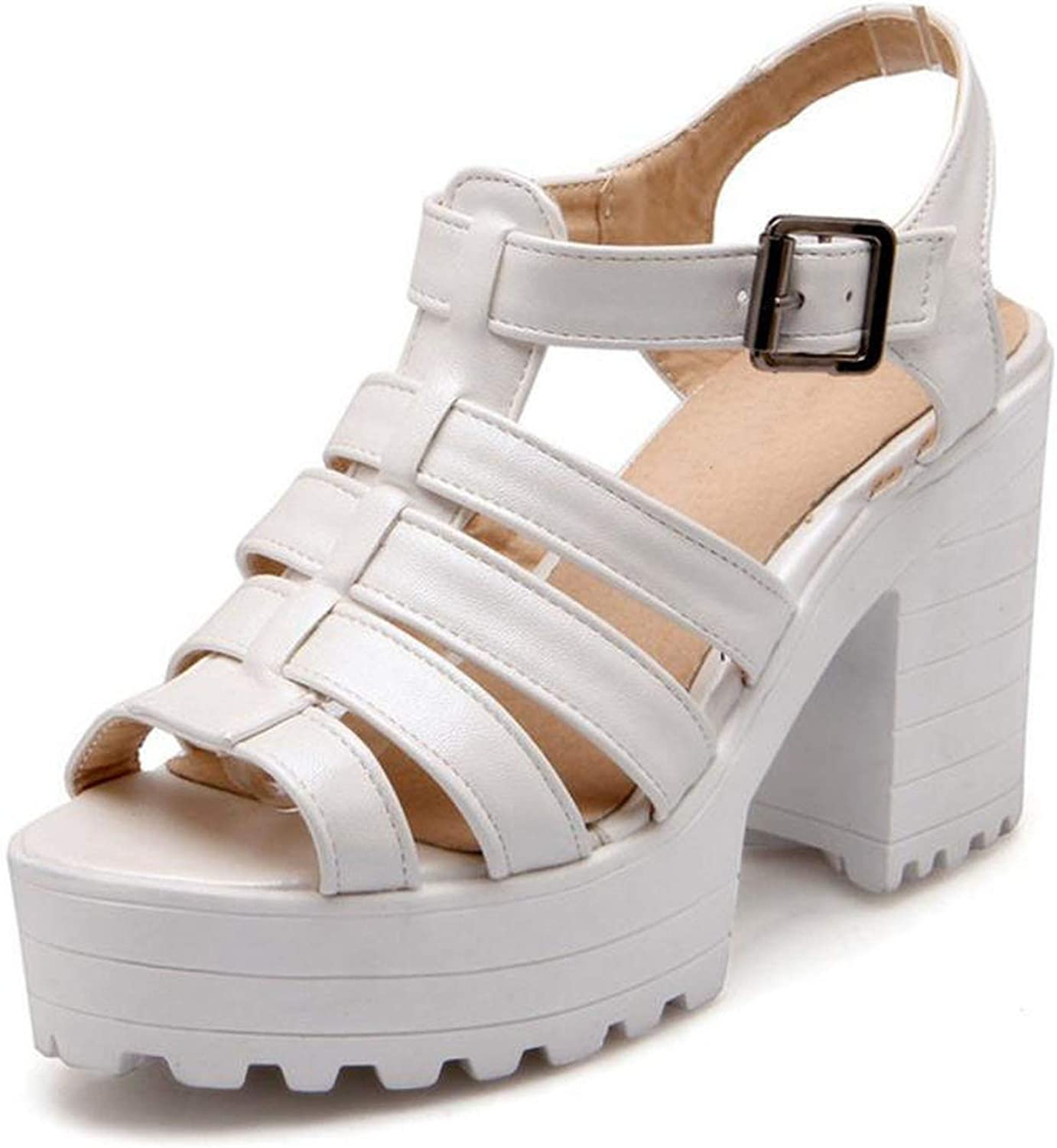 Fairly Peep Toe Ankle Strap Block Chunky High Heel Buckle shoes Platforms,White,5