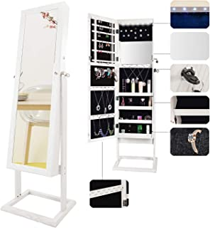 Bonnlo Jewelry Armoire Stable Square Freestanding with 6 LEDs with 4 Adjustable Angle Tilting, Lockable Heavy Duty Bedroom Makeup Mirror Cabinet Organizer Closet,Xmas New Year Gift