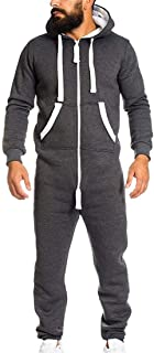 Shujin Men's Autumn Winter Thick Jumpsuit Jumpsuit Jogging Onesie Jogging Sports Suit Tracksuit with Zip and Hood