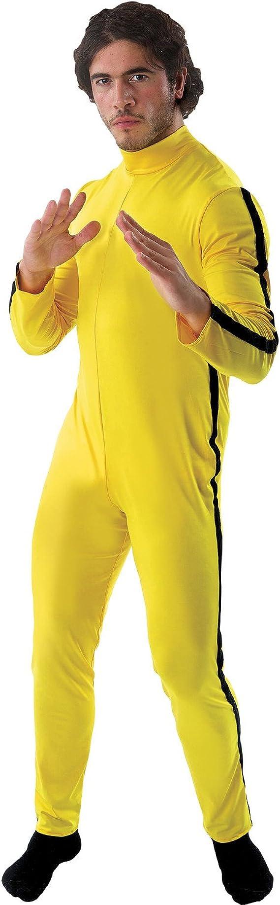 1970s Men's Clothes, Fashion, Outfits Orion Costumes Mens Bruce Lee Martial Arts Jumpsuit Fancy Dress Costume Yellow  AT vintagedancer.com