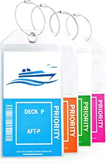Cruise Luggage Tag Holder w Zip Seal Steel Loop and Clear Thick PVC 2019 By TRS (4 Pack)